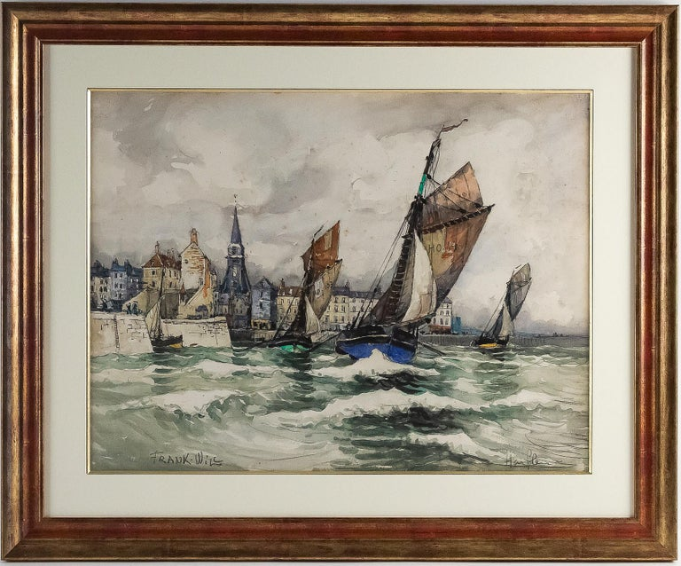 Frank Will, watercolor, View of Honfleur, circa 1930s.  A beautiful watercolor sign on a lower left by Frank Will, French, and American painter and watercolorist. Our painting a view of Honfleur harbor in the 1930s.  Our watercolor is a good