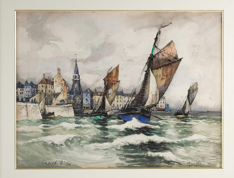 French Frank Will, Watercolor, View of Honfleur, circa 1930s For Sale