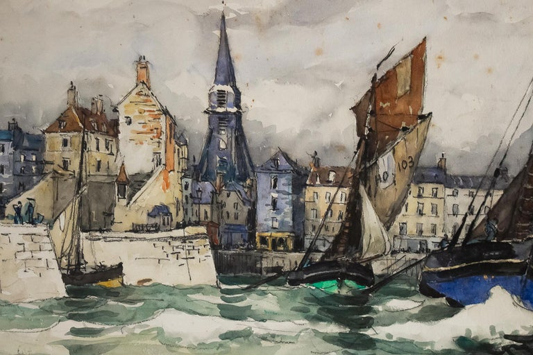 Painted Frank Will, Watercolor, View of Honfleur, circa 1930s For Sale