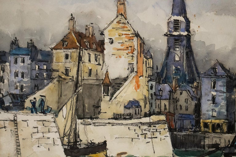 Frank Will, Watercolor, View of Honfleur, circa 1930s In Good Condition For Sale In Saint Ouen, FR