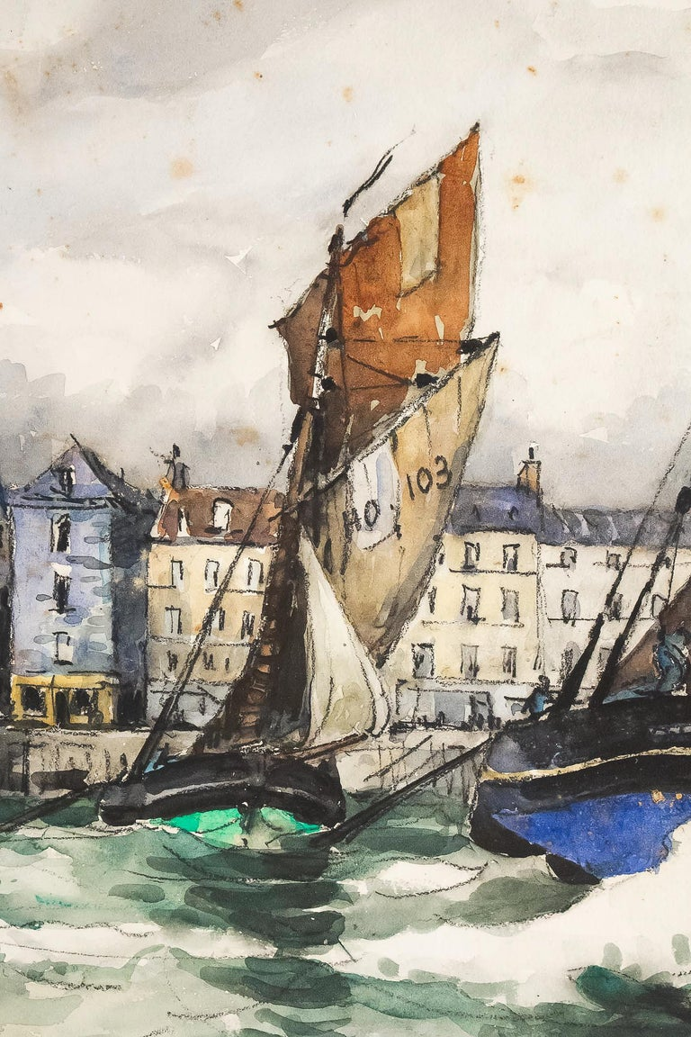Early 20th Century Frank Will, Watercolor, View of Honfleur, circa 1930s For Sale