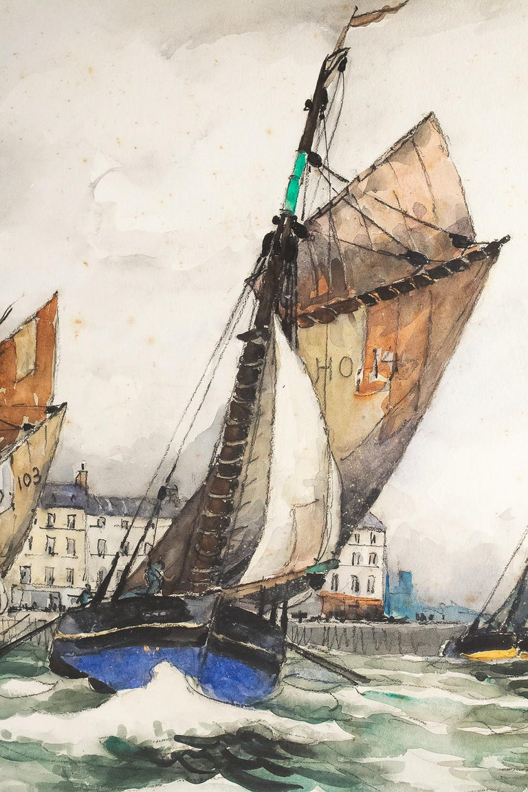 Paper Frank Will, Watercolor, View of Honfleur, circa 1930s For Sale