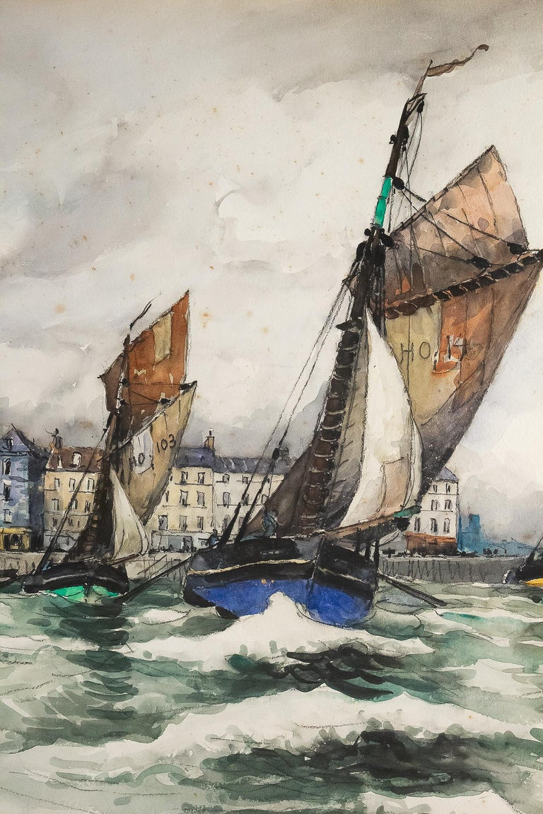 Frank Will, Watercolor, View of Honfleur, circa 1930s For Sale 1