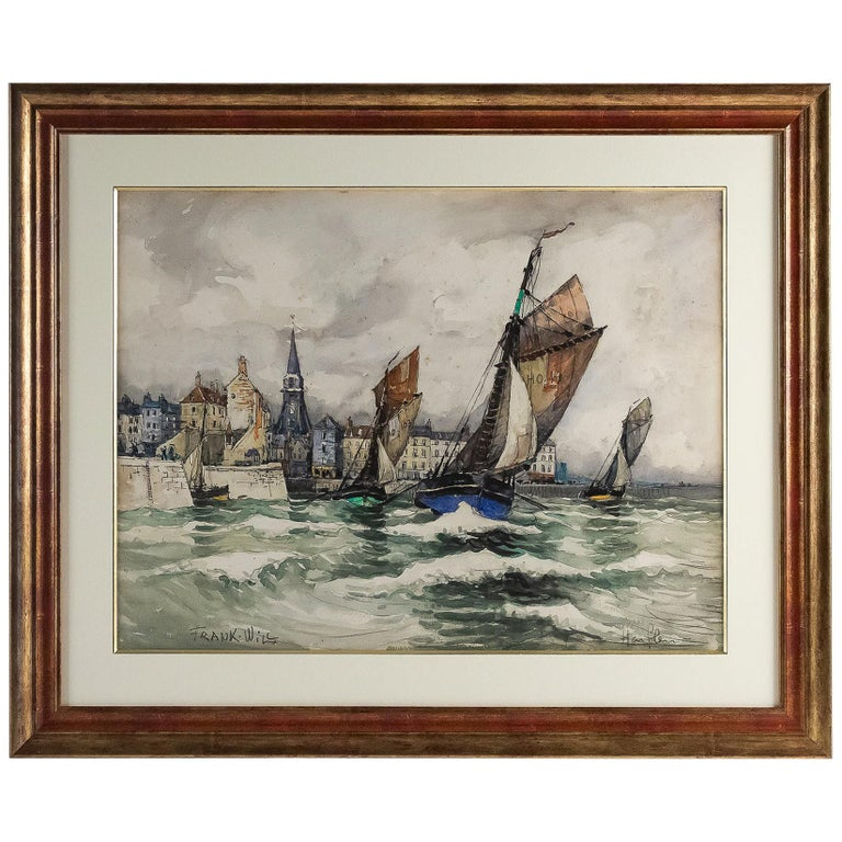 Frank Will, Watercolor, View of Honfleur, circa 1930s For Sale