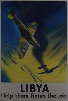 1942 Spitfire Poster Frank Wootton Libya Help them Finish the Job Heinkel III