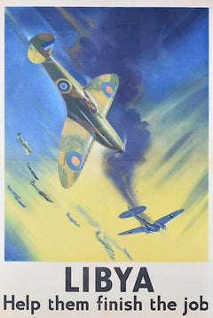 1942 Spitfire Poster Frank Wootton Libya Help them Finish the Job Heinkel III