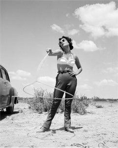 Elizabeth Taylor with Lasso Globe Photos Fine Art Print