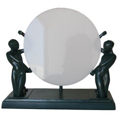 Frankart Style Nude Figures Nymph Silhouette Sun Green Table Lamp