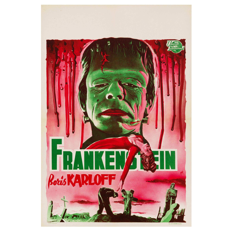 'Frankenstein' Original Vintage Movie Poster, Belgian, 1950s
