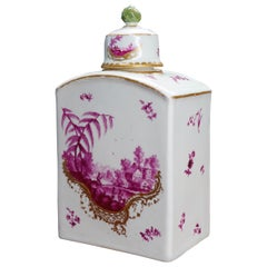Frankenthal Tea Canister and Cover, Country Scenes in Purple, circa 1765