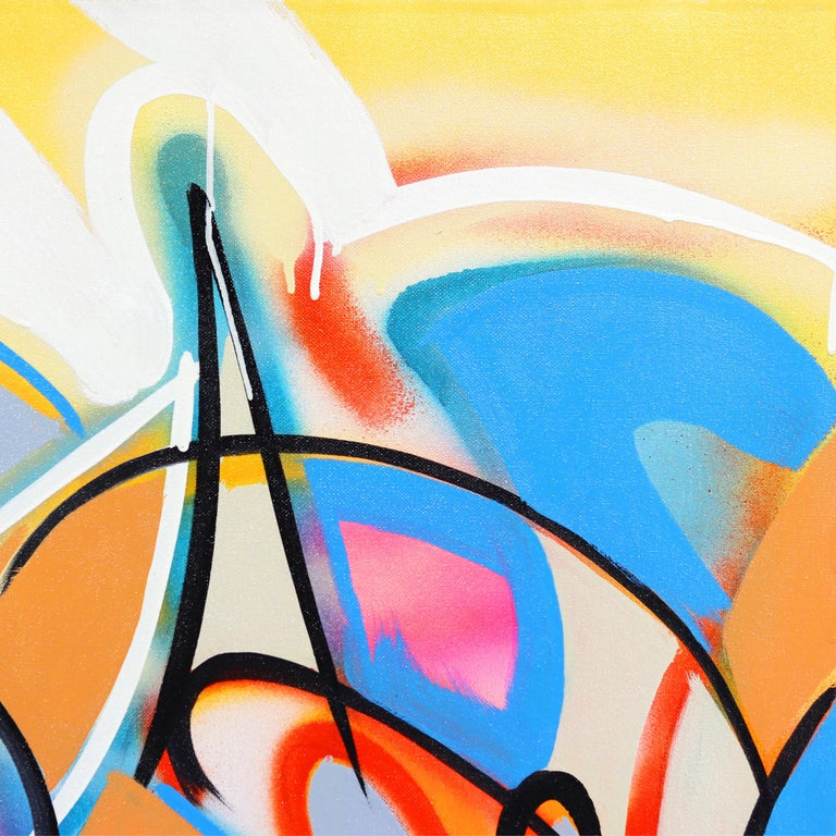 Cuban-American artist Frankie Alfonso creates interwoven paintings using lively colors and spontaneous, well-balanced compositions. His work is best described as a style of automatic writing where he manipulates simple lines to make complex