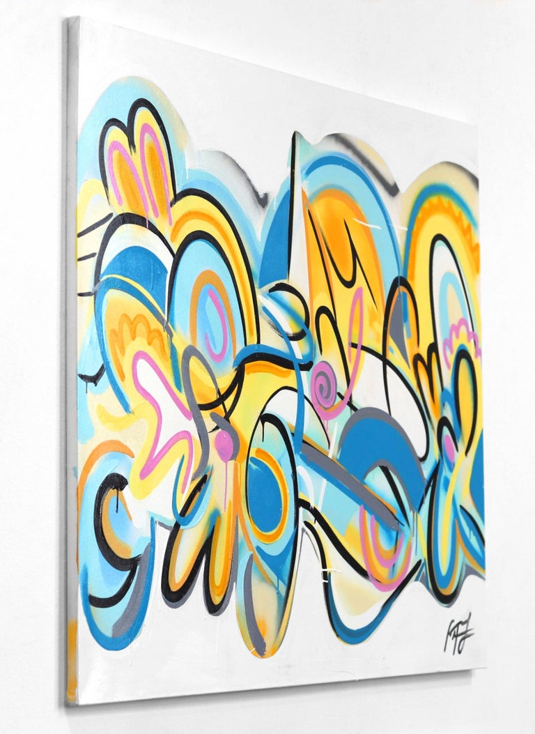 Sunset Beach - Beige Abstract Painting by Frankie Alfonso