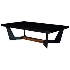 Franklin Coffee Table by Ambrozia, Charred Oak, Blackened Steel & Walnut Base