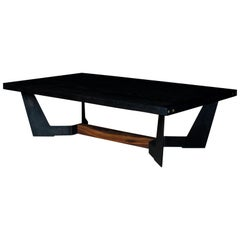 Franklin Coffee Table by Ambrozia, Ebonized Oak, Blackened Steel & Walnut Base