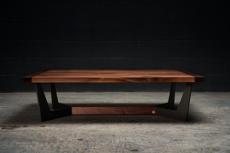 Modern Franklin Coffee Table XL by Ambrozia, Solid Walnut, Blackened Steel & Brass  For Sale