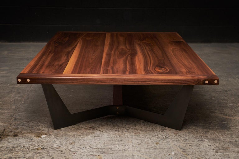 Canadian Franklin Coffee Table XL by Ambrozia, Solid Walnut, Blackened Steel & Brass  For Sale