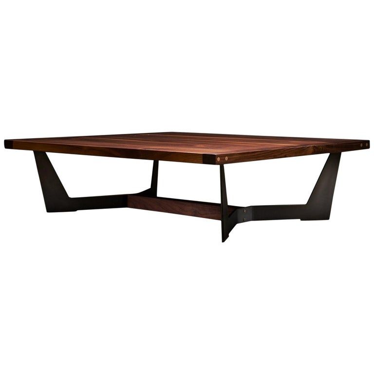 Franklin Coffee Table XL by Ambrozia, Solid Walnut, Blackened Steel & Brass  For Sale