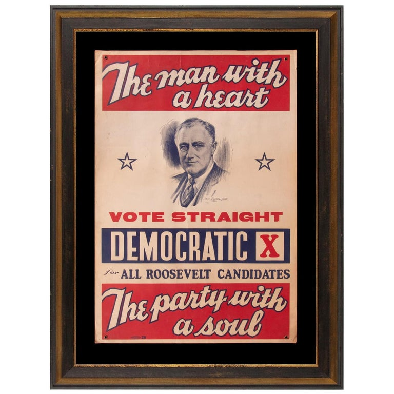 Franklin D. Roosevelt 1936 Campaign Poster For Sale