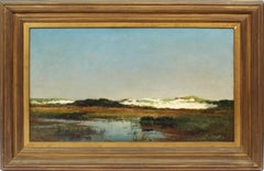 Antique American Impressionist New England Marsh Beach Dune Signed Oil Painting