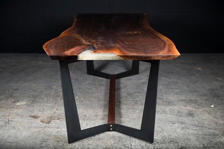 Organic Modern Franklin Dining Table by Ambrozia, Walnut Slab, Blackened Steel & Walnut Base For Sale