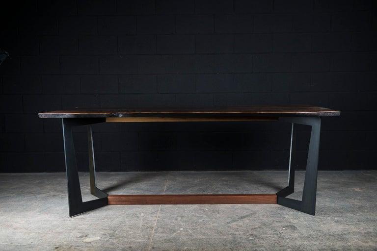 Contemporary Franklin Dining Table by Ambrozia, Walnut Slab, Blackened Steel & Walnut Base For Sale
