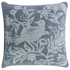 Franklin Hand Embroidered Accent Pillow with Bird Motif by Curatedkravet