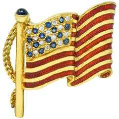 Franklin Mint Sapphire Diamond Enamel 18 Karat Gold American Unisex Flag Brooch