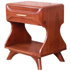 Franklin Shockey Mid-Century Modern Sculpted Solid Pine Nightstand, Refinished