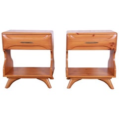 Franklin Shockey Mid-Century Modern Solid Pine Nightstands, Pair