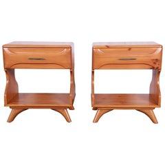 Franklin Shockey Mid-Century Modern Solid Pine Nightstands, Pair