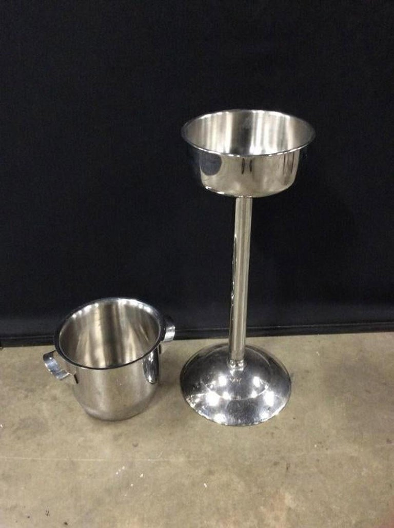 Stainless Steel Franmara Champagne Ice Bucket On Stand For Sale