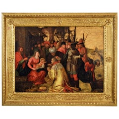 Frans Franken III 16th Century Oil on Wood, Adoration of the Magi, Painting
