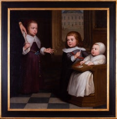 Dutch Old Master painting of three young children aristocrats