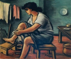 Early Morning - Laure, 1964, oil on canvas, female study, figurative, interior
