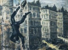 Un homme qui tombe - Gouache/Paper, Black, White, Modern, Social Criticism, 1964