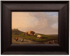 Sheep Resting in a Meadow by Francois (Frans) Van Severdonck, 1861, Signed