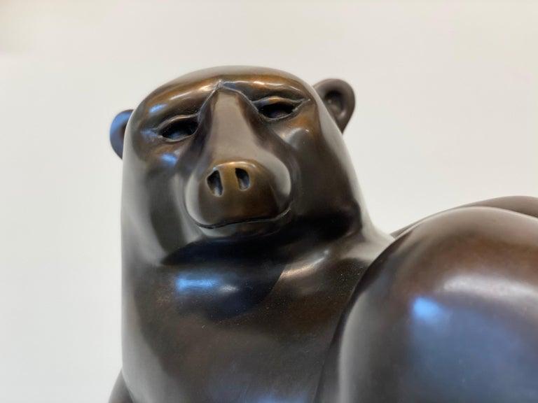 Happy Bear- 21st Century Dutch Bronze  Sculpture of a Polar Bear - Gold Figurative Sculpture by Frans van Straaten