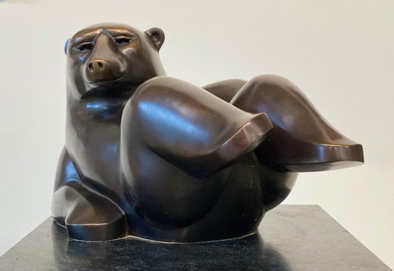 Frans van Straaten Figurative Sculpture - Happy Bear- 21st Century Dutch Bronze  Sculpture of a Polar Bear