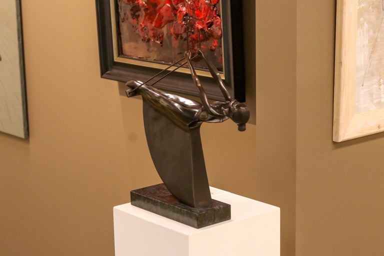 Swinging III - 21st Century Contemporary Bronze Sculpture of a Woman On A Swing For Sale 2