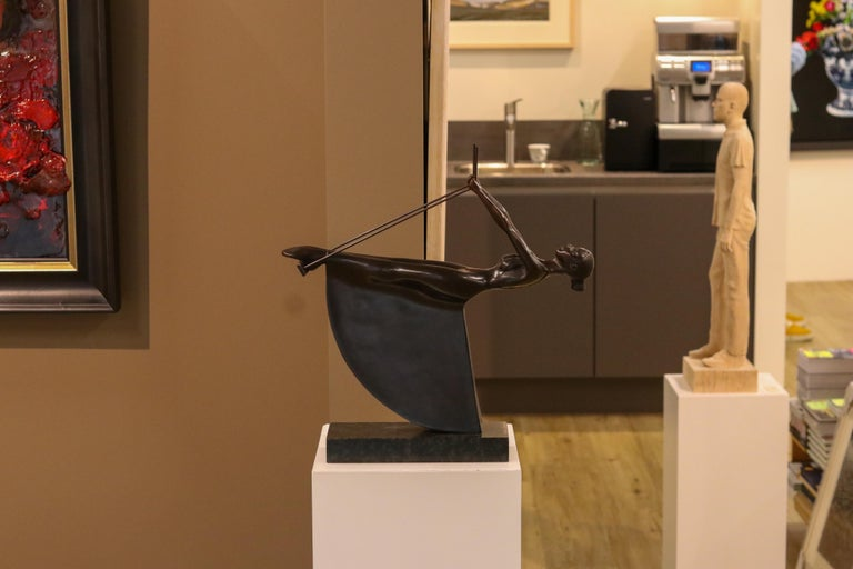 Swinging III - 21st Century Contemporary Bronze Sculpture of a Woman On A Swing For Sale 3