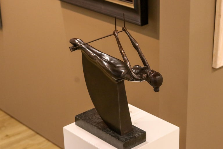 Swinging III - 21st Century Contemporary Bronze Sculpture of a Woman On A Swing - Gold Figurative Sculpture by Frans van Straaten