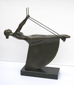 Swinging III - 21st Century Contemporary Bronze Sculpture of a Woman On A Swing