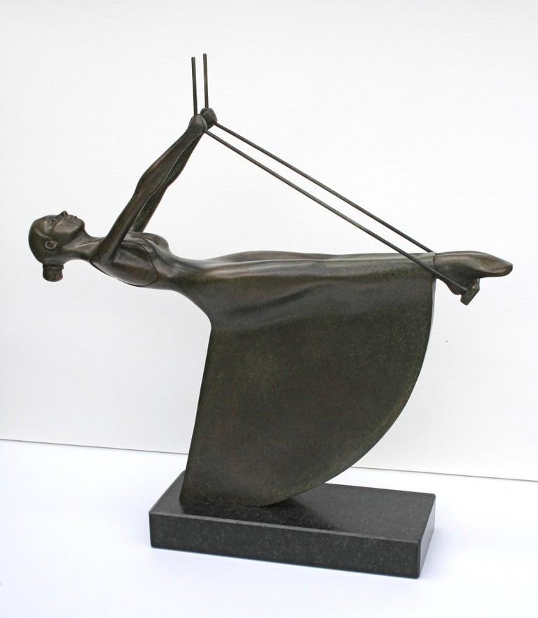 Frans van Straaten Figurative Sculpture - Swinging III - 21st Century Contemporary Bronze Sculpture of a Woman On A Swing