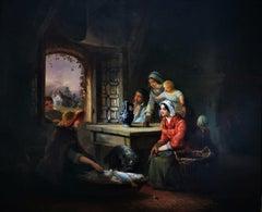 """Family Interior Scene"", peasant family in 19thC Austria, original oil on paper"