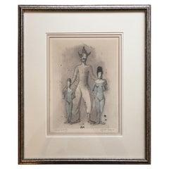 """Frantisek Tichy 1896-1961 """"Circus Family"""" Print"""