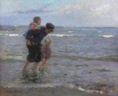 Children Walking along the Beach