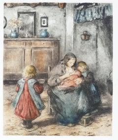 La Tétée de la Mère et ses Enfants - Original Etching by F. Charlet - Early 1900