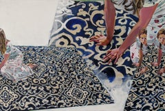 """""""And I begin"""", acrylic painting, rug, woman, figure, navy, blue, beige"""