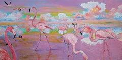 """Leisure"", acrylic painting, flamingos, birds, clouds, sunset, pink, purple"