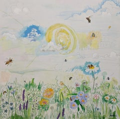"""""""The bees, the bees, the bees"""", landscape, flowers, white, blue, yellow, green"""